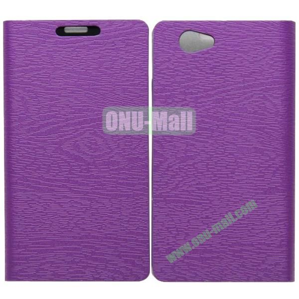 Wood Texture Leather Case Cover for Sony Xperia Z1 Mini with Holder and Credit Card Slots(Purple)