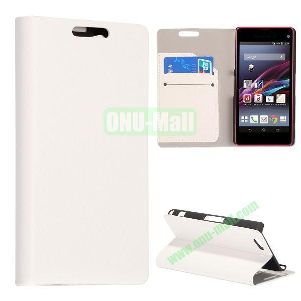 Litchi Texture Flip Stand Leather Case with Card Slots for Sony Xperia Z1 Mini (White)