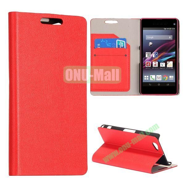 Litchi Texture Flip Stand Leather Case with Card Slots for Sony Xperia Z1 Mini (Red)