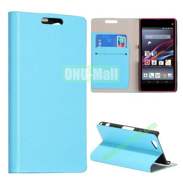 Litchi Texture Flip Stand Leather Case with Card Slots for Sony Xperia Z1 Mini (Light Blue)
