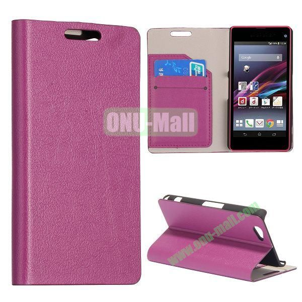 Litchi Texture Flip Stand Leather Case with Card Slots for Sony Xperia Z1 Mini (Purple)
