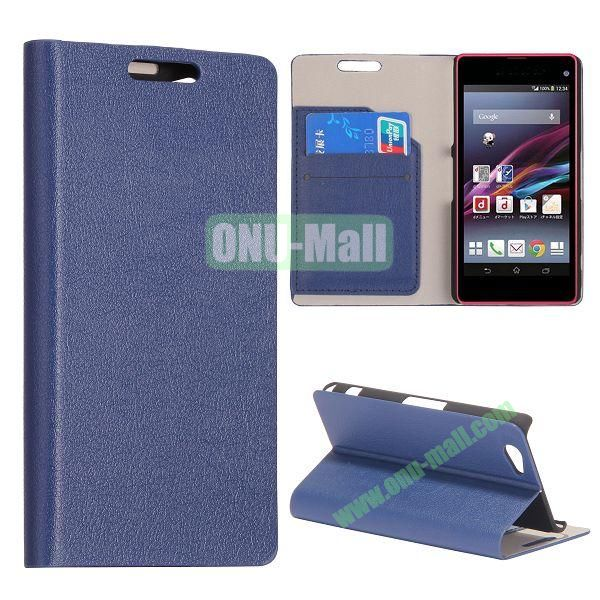 Litchi Texture Flip Stand Leather Case with Card Slots for Sony Xperia Z1 Mini (Dark Blue)