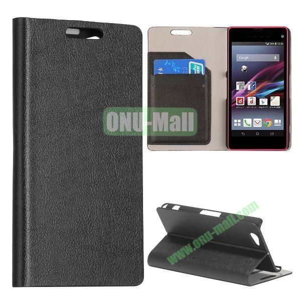 Litchi Texture Flip Stand Leather Case with Card Slots for Sony Xperia Z1 Mini (Black)