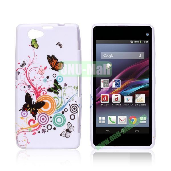 Butterfly and Circles Pattern TPU Case for Sony Xperia Z1 Mini