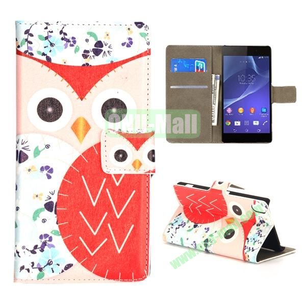 Mixed Color Owl Pattern Wallet Flip Leather Case for Sony Xperia Z2 L50w (Pink and Red)