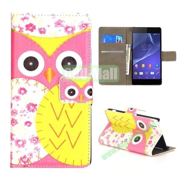 Mixed Color Owl Pattern Wallet Flip Leather Case for Sony Xperia Z2 L50w (Rose and Yellow)