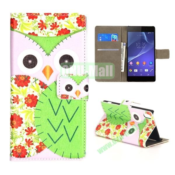 Mixed Color Owl Pattern Wallet Flip Leather Case for Sony Xperia Z2 L50w (Rose and Green)