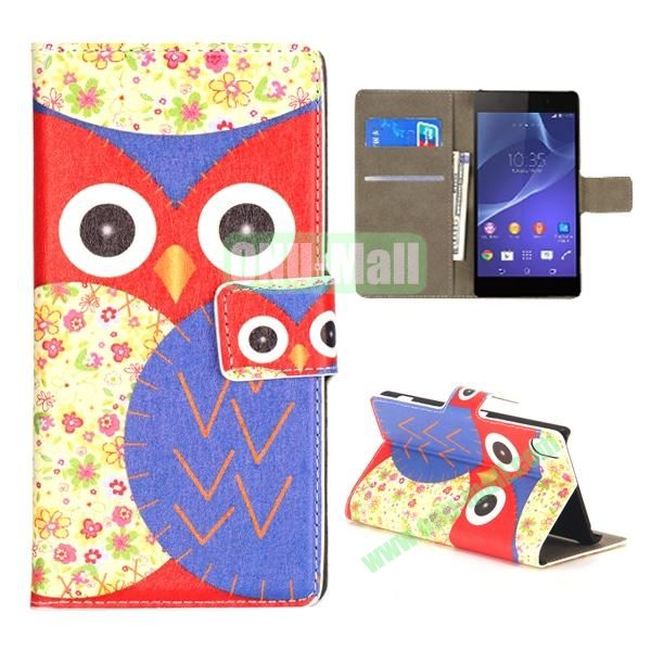 Mixed Color Owl Pattern Wallet Flip Leather Case for Sony Xperia Z2 L50w (Red and Purple)