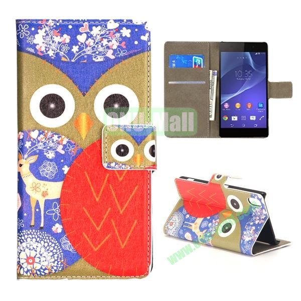 Mixed Color Owl Pattern Wallet Flip Leather Case for Sony Xperia Z2 L50w (Brown and Red)