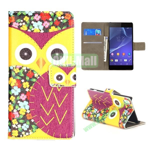 Mixed Color Owl Pattern Wallet Flip Leather Case for Sony Xperia Z2 L50w (Yellow and Magenta)
