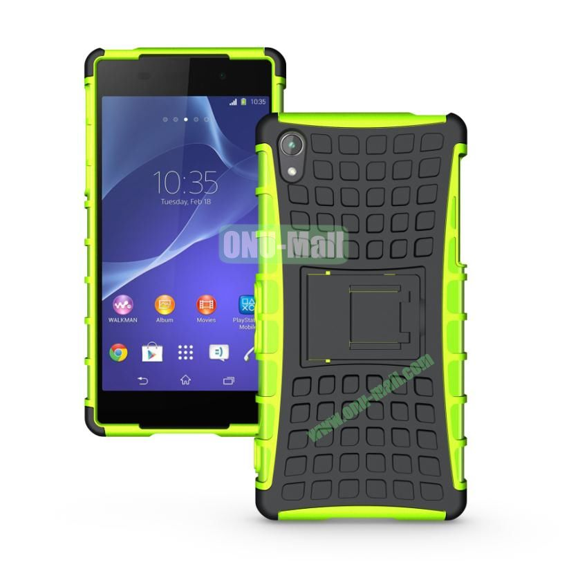 Two in One Pattern TPU and PC Case for Sony Xperia Z2 L50w with Stand (Black and Green)
