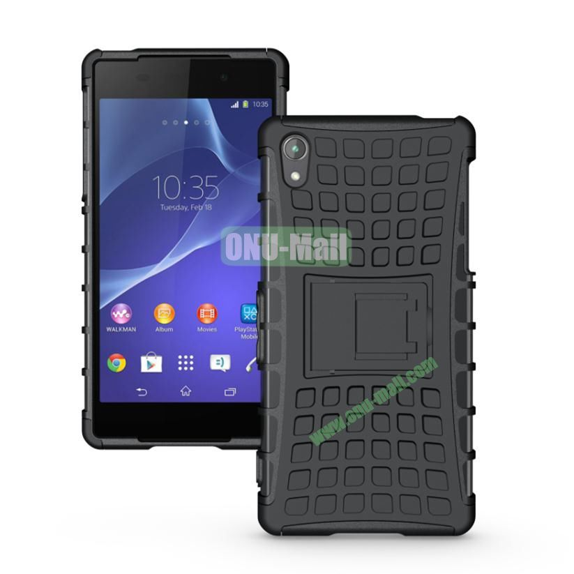 Two in One Pattern TPU and PC Case for Sony Xperia Z2 L50w with Stand (Black)