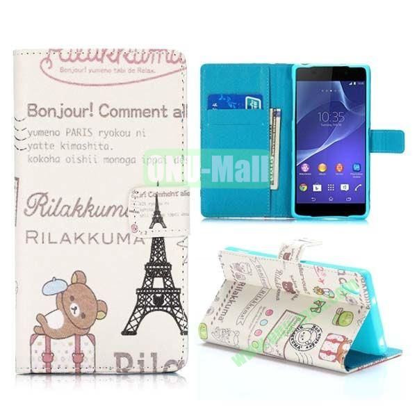 Cute Bear and Eiffel Tower Pattern Cross Texture Magnetic Flip Stand TPU+PU Leather Case for Sony Xperia Z2 L50W D6502 D6503