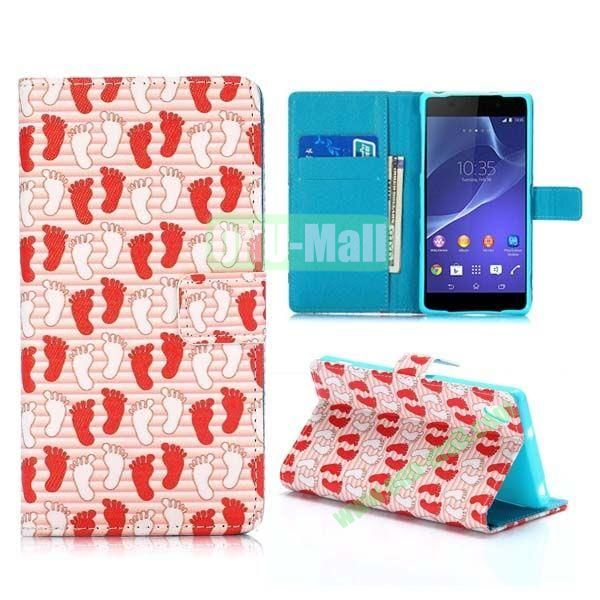 Footprint Pattern Cross Texture Magnetic Flip Stand TPU+PU Leather Case for Sony Xperia Z2 L50W D6502 D6503