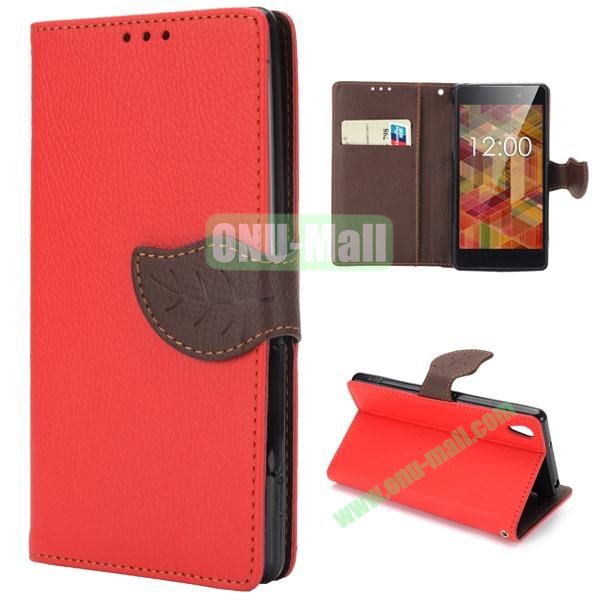 Litchi Texture Leaf Buckle TPU and PU Leather Case for Sony Xperia Z2 L50W D6502 D6503 with Strap (Red)