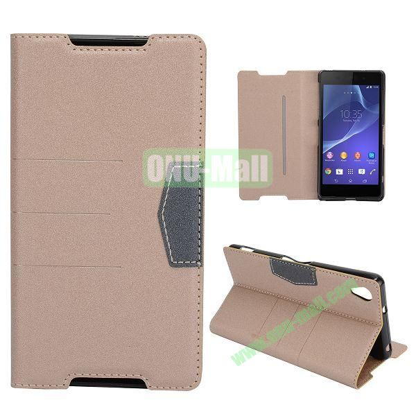 Fashion Flip Stand Leather Case with Card Slot for Sony Xperia Z2  L50W  D6502  D6503 (Champagne Gold)