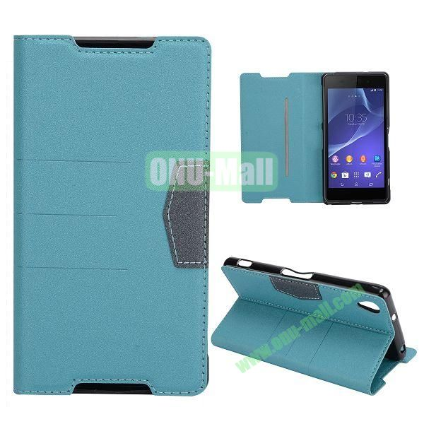 Fashion Flip Stand Leather Case with Card Slot for Sony Xperia Z2  L50W  D6502  D6503 (Blue)