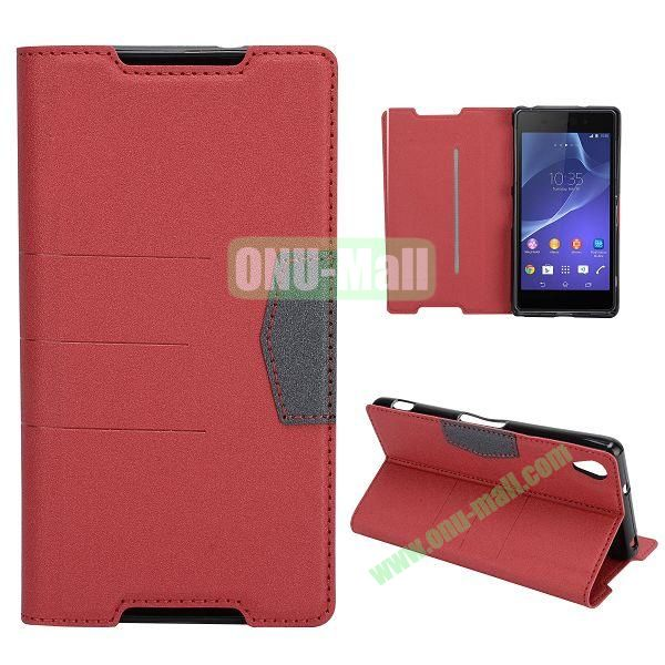 Fashion Flip Stand Leather Case with Card Slot for Sony Xperia Z2  L50W  D6502  D6503 (Red)