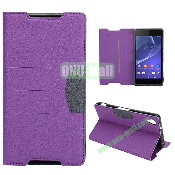 Fashion Flip Stand Leather Case with Card Slot for Sony Xperia Z2  L50W  D6502  D6503 (Purple)