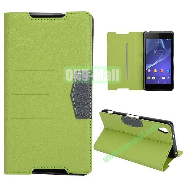 Fashion Flip Stand Leather Case with Card Slot for Sony Xperia Z2  L50W  D6502  D6503 (Green)