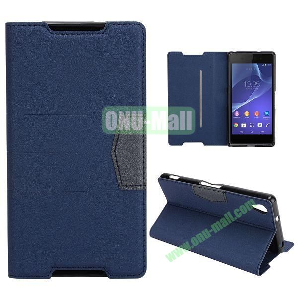 Fashion Flip Stand Leather Case with Card Slot for Sony Xperia Z2  L50W  D6502  D6503 (Dark Blue)