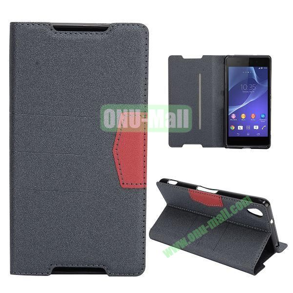 Fashion Flip Stand Leather Case with Card Slot for Sony Xperia Z2  L50W  D6502  D6503 (Black)