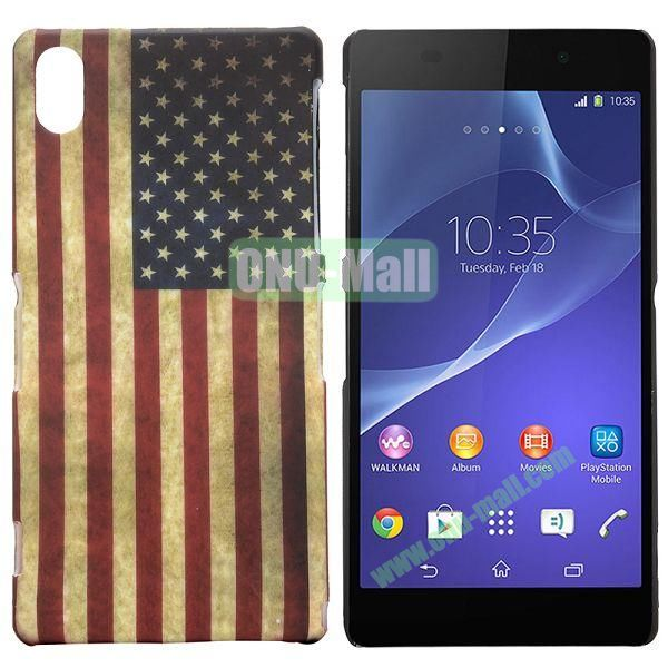 USA Flag Pattern Coated Oil Hard Case for Sony Xperia Z2  L50W  D6502  D6503