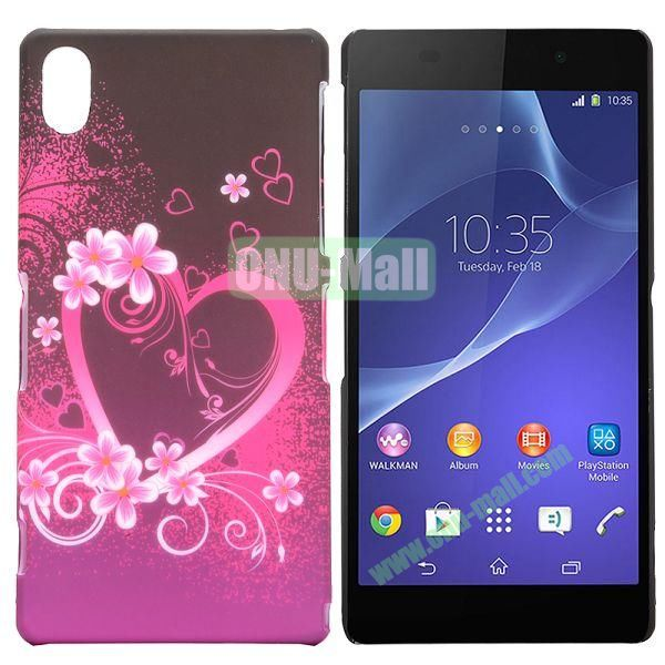 Rose Heart Pattern Coated Oil Hard Case for Sony Xperia Z2  L50W  D6502  D6503