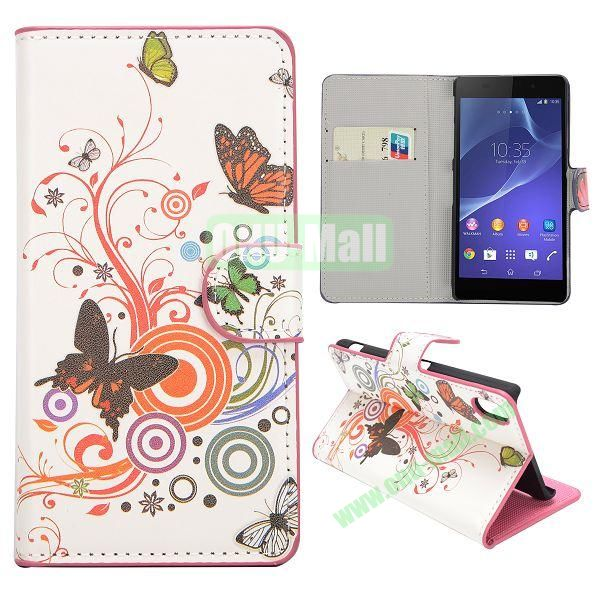 Butterfly Pattern Magnetic Flip Stand Leather Case with Card Slots for Sony Xperia Z2  L50W  D6502  D6503