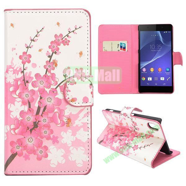 Cherry Blossoms Pattern Magnetic Flip Stand Leather Case with Card Slots for Sony Xperia Z2  L50W  D6502  D6503