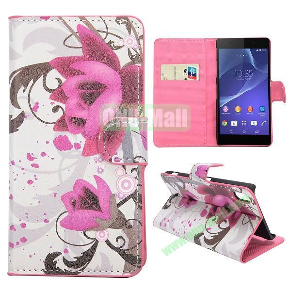 Lotus Pattern Magnetic Flip Stand Leather Case with Card Slots for Sony Xperia Z2  L50W  D6502  D6503