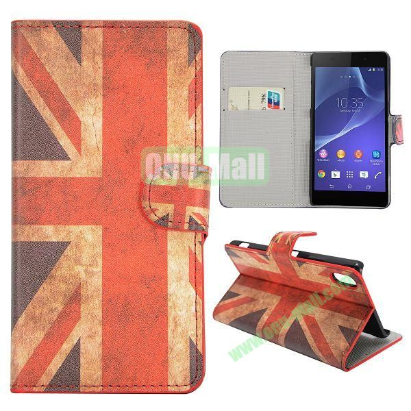 UK Flag Pattern Magnetic Flip Stand Leather Case with Card Slots for Sony Xperia Z2  L50W  D6502  D6503