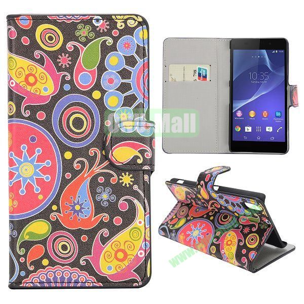 Color Fish Pattern Magnetic Flip Stand Leather Case with Card Slots for Sony Xperia Z2  L50W  D6502  D6503