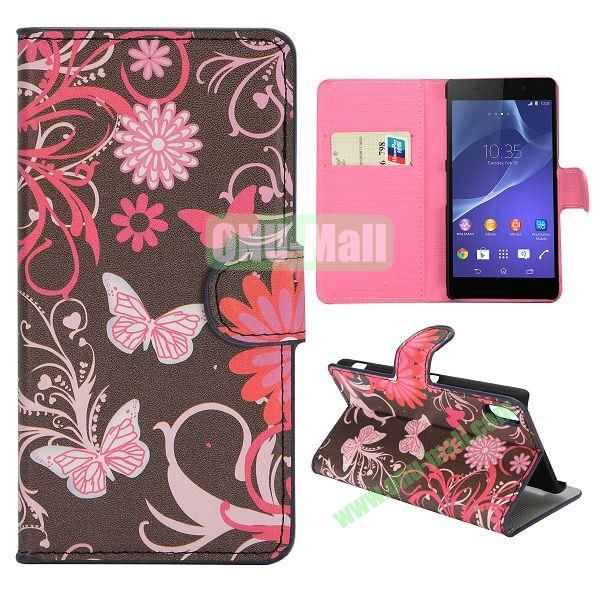 Pink Flower Pattern Magnetic Flip Stand Leather Case with Card Slots for Sony Xperia Z2  L50W  D6502  D6503