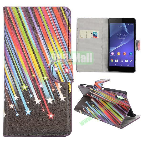 Meteor Pattern Magnetic Flip Stand Leather Case with Card Slots for Sony Xperia Z2  L50W  D6502  D6503
