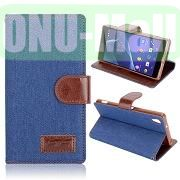 Cloth Texture Wallet Style Leather Case for Sony Xperia Z2L50W D6502 D6503 (Blue)