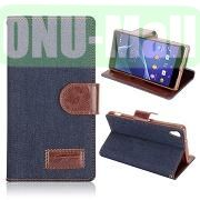 Cloth Texture Wallet Style Leather Case for Sony Xperia Z2L50W D6502 D6503 (Dark Blue)