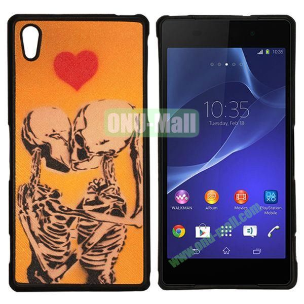 Ultrathin Flexible Leather Coated Soft TPU Case For Sony Xperia Z2  L50W  D6502  D6503 (Kissing Skulls)