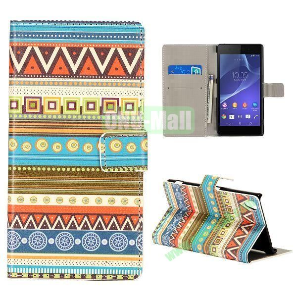 Magnetic Foldable Flip Leather Case for Sony Xperia Z2 L50W D6502 D6503 (Tribal)