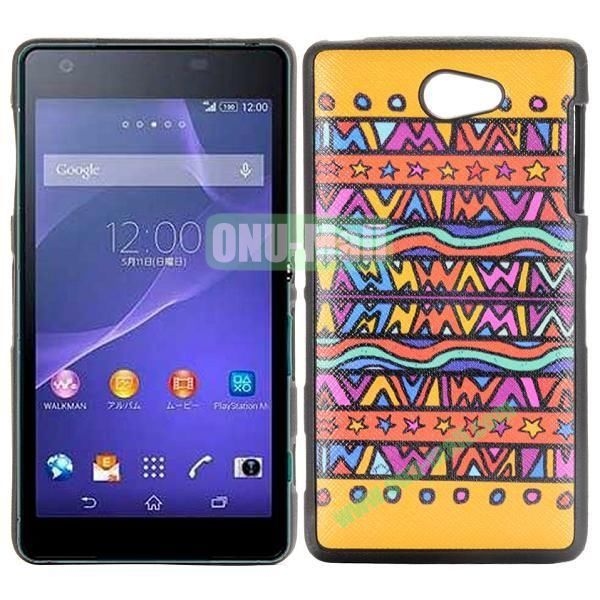 Pretty Tribal Pattern Cross Texture Leather Coated Design TPU Case for Sony Xperia Z2a D6563