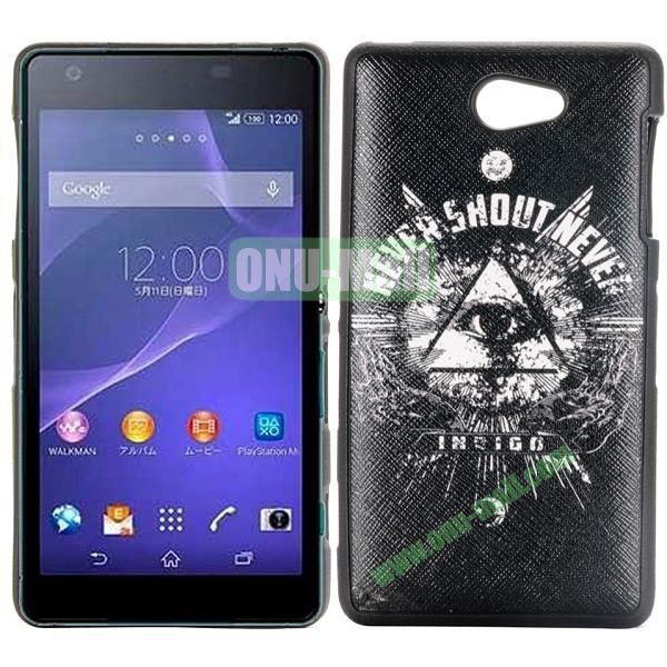 Triangle Eye Pattern Cross Texture Leather Coated Design TPU Case for Sony Xperia Z2a D6563