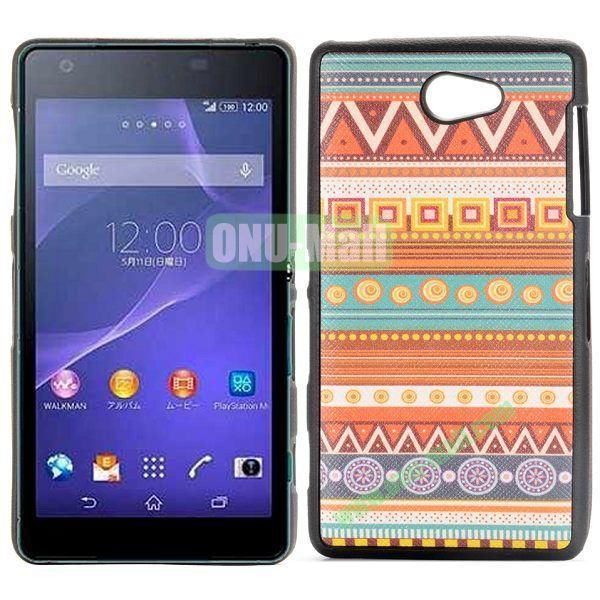 Geometric Tribal Pattern Cross Texture Leather Coated Design TPU Case for Sony Xperia Z2a D6563