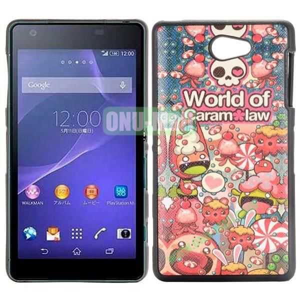 World of Caram Law Pattern Cross Texture Leather Coated Design TPU Case for Sony Xperia Z2a D6563