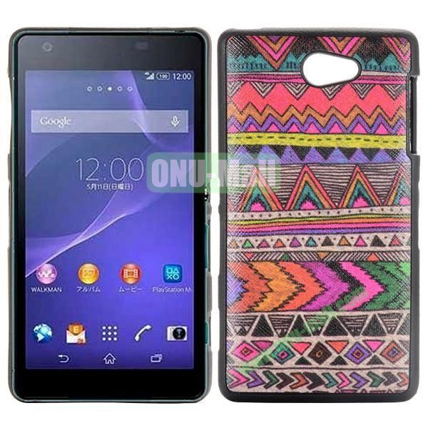 Colorized Tribal Pattern Cross Texture Leather Coated Design TPU Case for Sony Xperia Z2a D6563