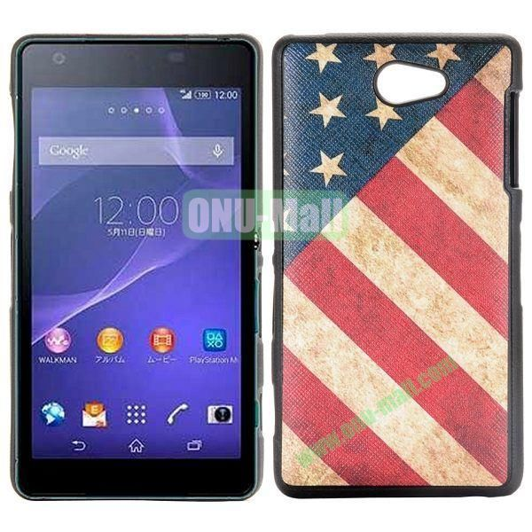 Retro US Flag Pattern Cross Texture Leather Coated Design TPU Case for Sony Xperia Z2a D6563