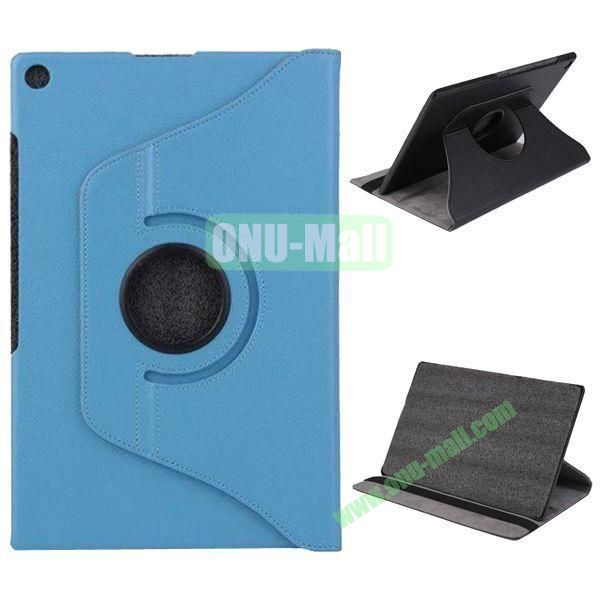 360 Degree Rotation Litchi Texture Leather Case for Sony Xperia Z2 Tablet (Blue)