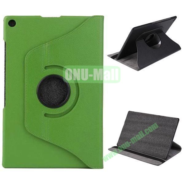 360 Degree Rotation Litchi Texture Leather Case for Sony Xperia Z2 Tablet (Green)