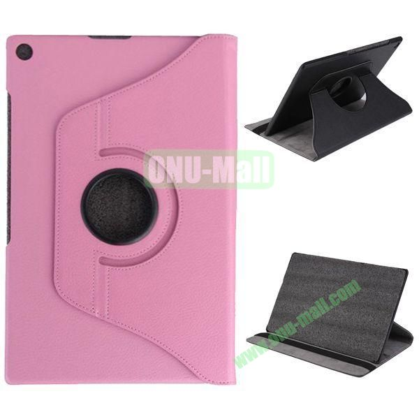 360 Degree Rotation Litchi Texture Leather Case for Sony Xperia Z2 Tablet (Pink)