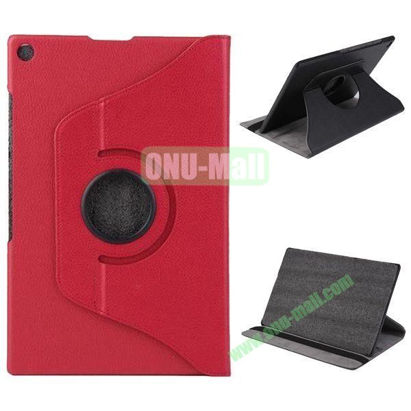 360 Degree Rotation Litchi Texture Leather Case for Sony Xperia Z2 Tablet (Red)