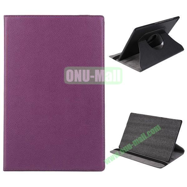 360 Degree Rotation Litchi Texture Leather Case for Sony Xperia Z2 Tablet (Purple)